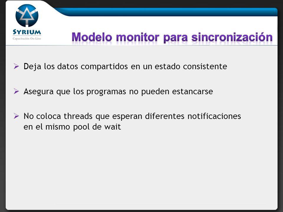 Deja los datos compartidos en un estado consistente Asegura que los programas no pueden estancarse No coloca threads que esperan diferentes notificaci