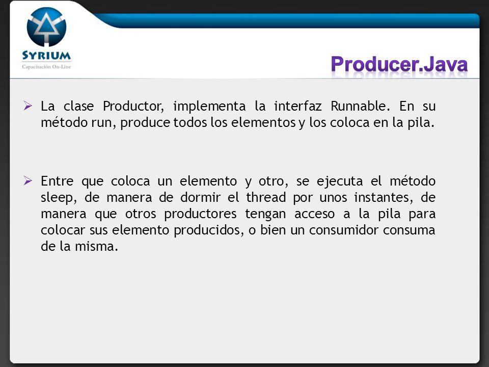 La clase Productor, implementa la interfaz Runnable. En su método run, produce todos los elementos y los coloca en la pila. Entre que coloca un elemen