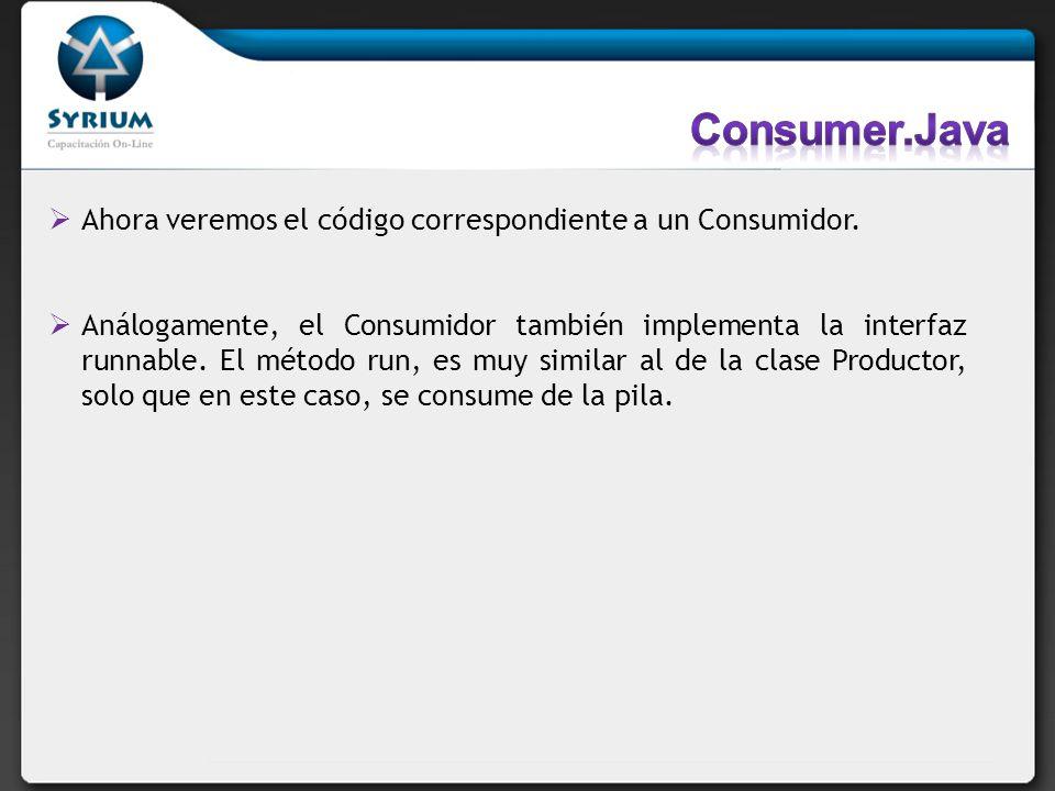 Ahora veremos el código correspondiente a un Consumidor. Análogamente, el Consumidor también implementa la interfaz runnable. El método run, es muy si