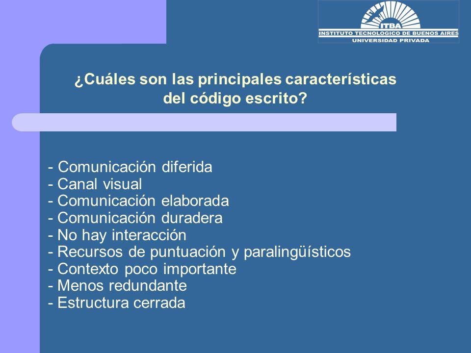 - Comunicación diferida - Canal visual - Comunicación elaborada - Comunicación duradera - No hay interacción - Recursos de puntuación y paralingüístic