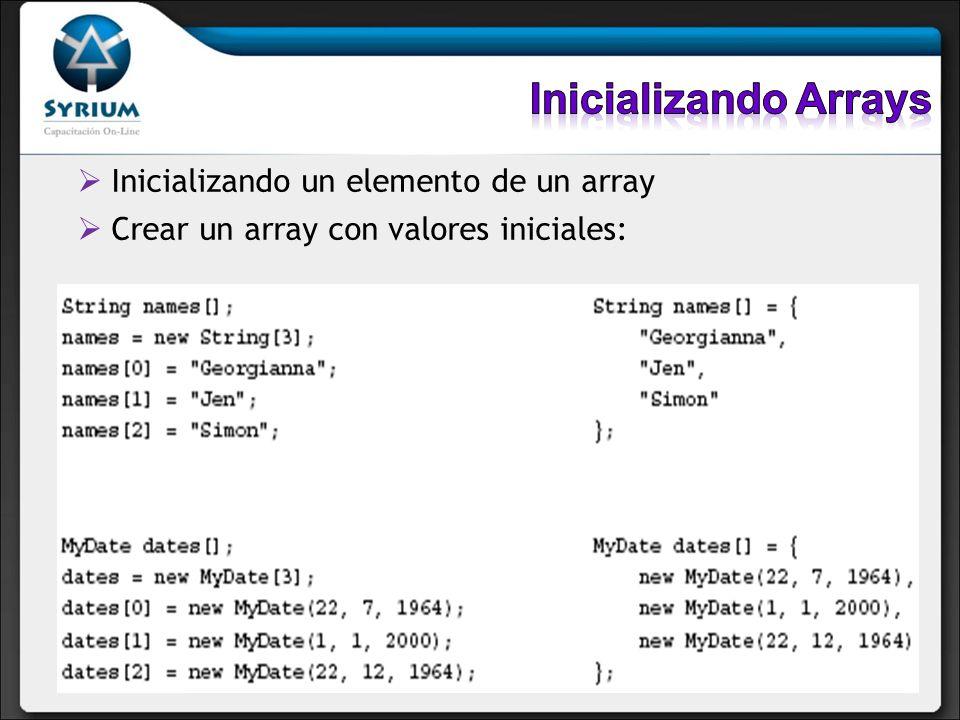 Inicializando un elemento de un array Crear un array con valores iniciales: