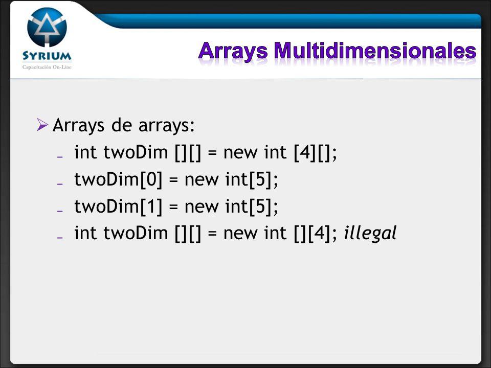 Arrays de arrays: int twoDim [][] = new int [4][]; twoDim[0] = new int[5]; twoDim[1] = new int[5]; int twoDim [][] = new int [][4]; illegal