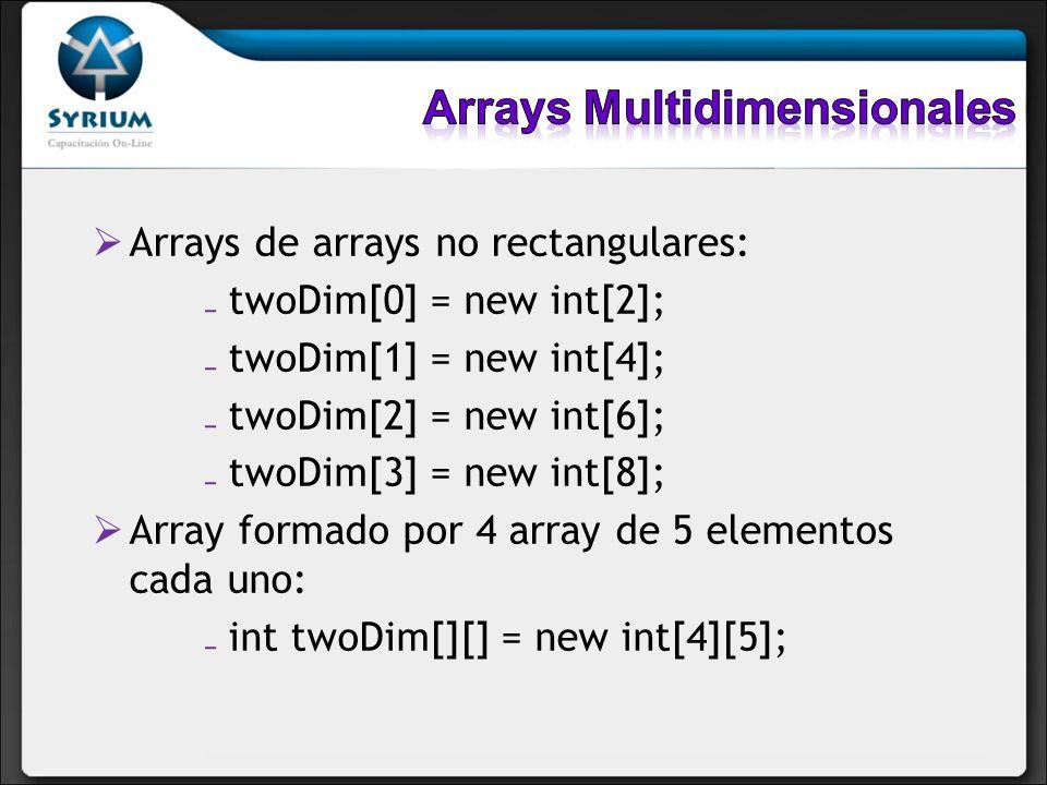 Arrays de arrays no rectangulares: twoDim[0] = new int[2]; twoDim[1] = new int[4]; twoDim[2] = new int[6]; twoDim[3] = new int[8]; Array formado por 4
