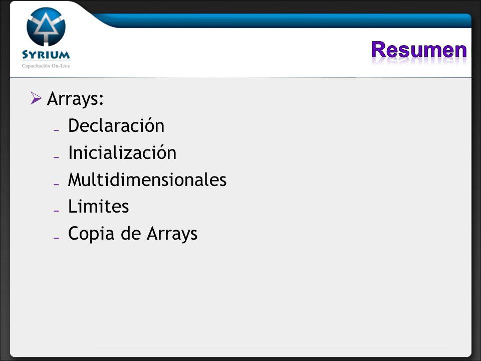 Arrays: Declaración Inicialización Multidimensionales Limites Copia de Arrays