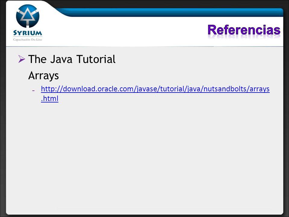 The Java Tutorial Arrays http://download.oracle.com/javase/tutorial/java/nutsandbolts/arrays.htmlhttp://download.oracle.com/javase/tutorial/java/nutsa