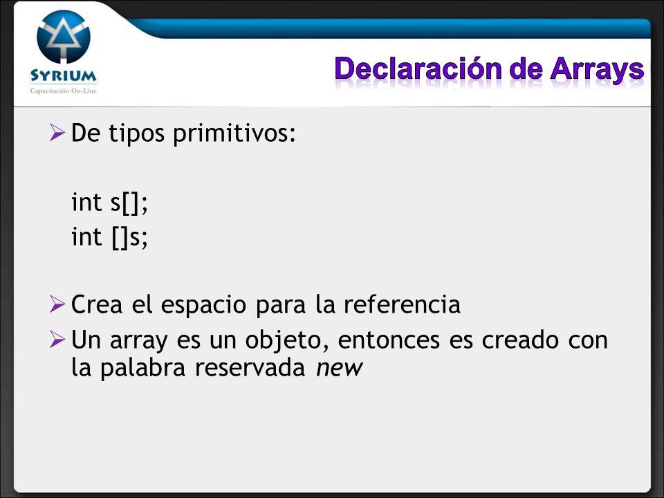 De tipos primitivos: int s[]; int []s; Crea el espacio para la referencia Un array es un objeto, entonces es creado con la palabra reservada new