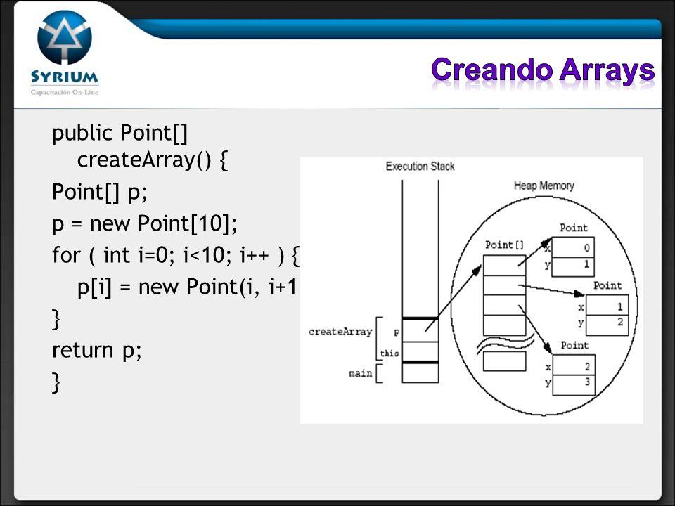 public Point[] createArray() { Point[] p; p = new Point[10]; for ( int i=0; i<10; i++ ) { p[i] = new Point(i, i+1); } return p; }