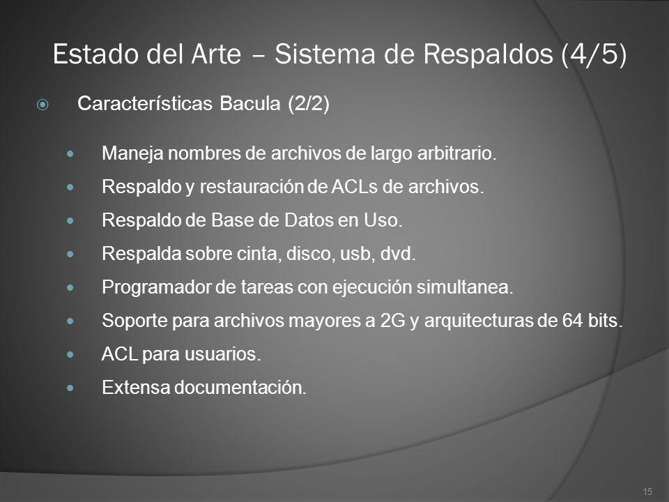 15 Estado del Arte – Sistema de Respaldos (4/5) Características Bacula (2/2) Maneja nombres de archivos de largo arbitrario. Respaldo y restauración d