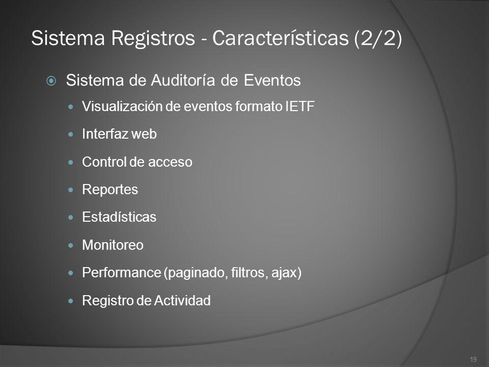 19 Sistema de Auditoría de Eventos Visualización de eventos formato IETF Interfaz web Control de acceso Reportes Estadísticas Monitoreo Performance (p