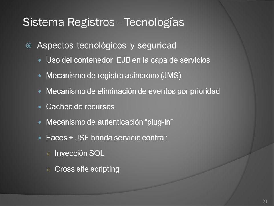 21 Sistema Registros - Tecnologías Aspectos tecnológicos y seguridad Uso del contenedor EJB en la capa de servicios Mecanismo de registro asíncrono (J