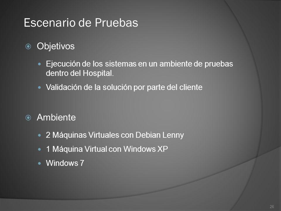 26 Objetivos Ejecución de los sistemas en un ambiente de pruebas dentro del Hospital. Validación de la solución por parte del cliente Escenario de Pru