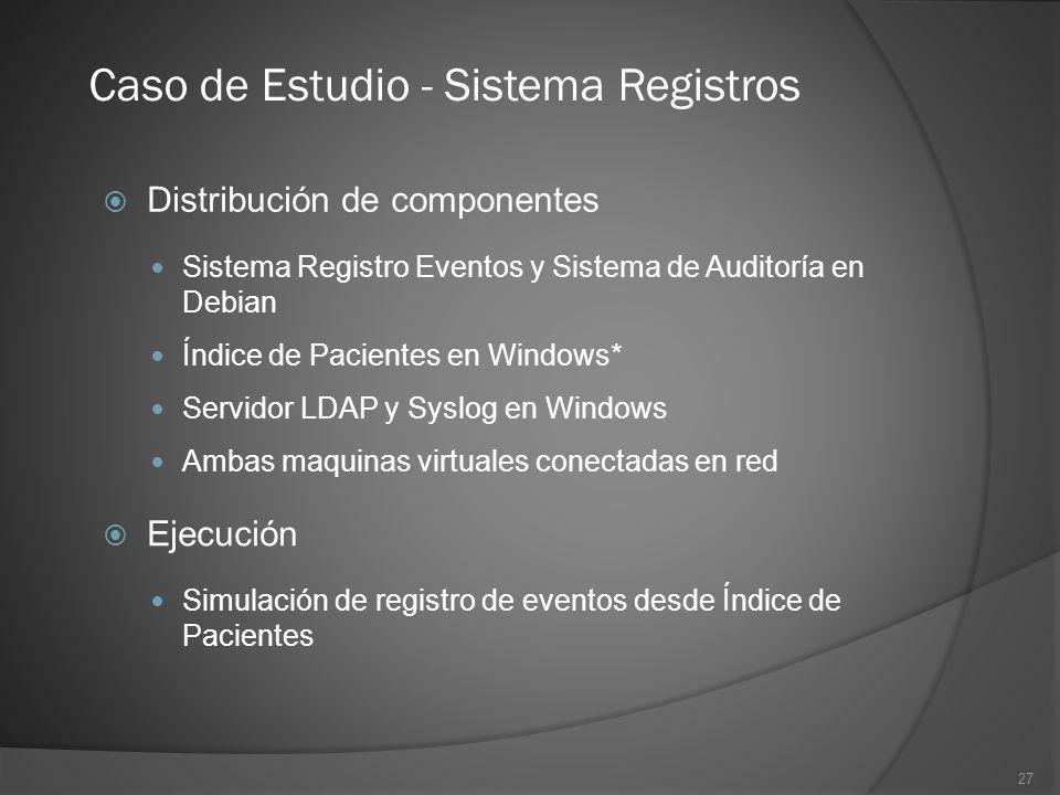 27 Caso de Estudio - Sistema Registros Distribución de componentes Sistema Registro Eventos y Sistema de Auditoría en Debian Índice de Pacientes en Wi