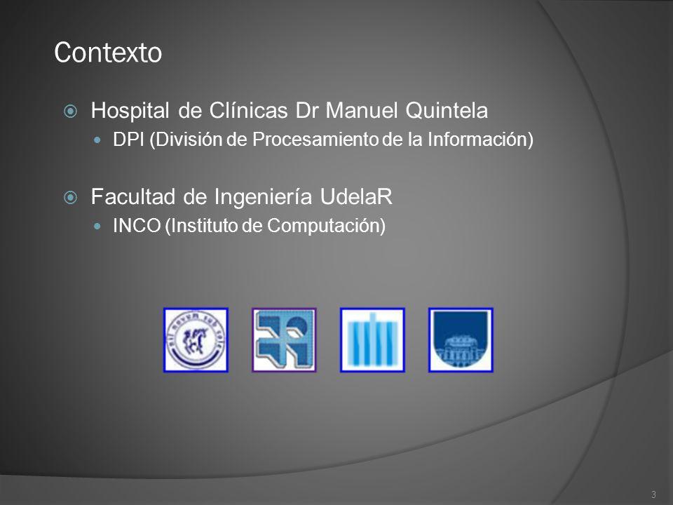 3 Contexto Hospital de Clínicas Dr Manuel Quintela DPI (División de Procesamiento de la Información) Facultad de Ingeniería UdelaR INCO (Instituto de