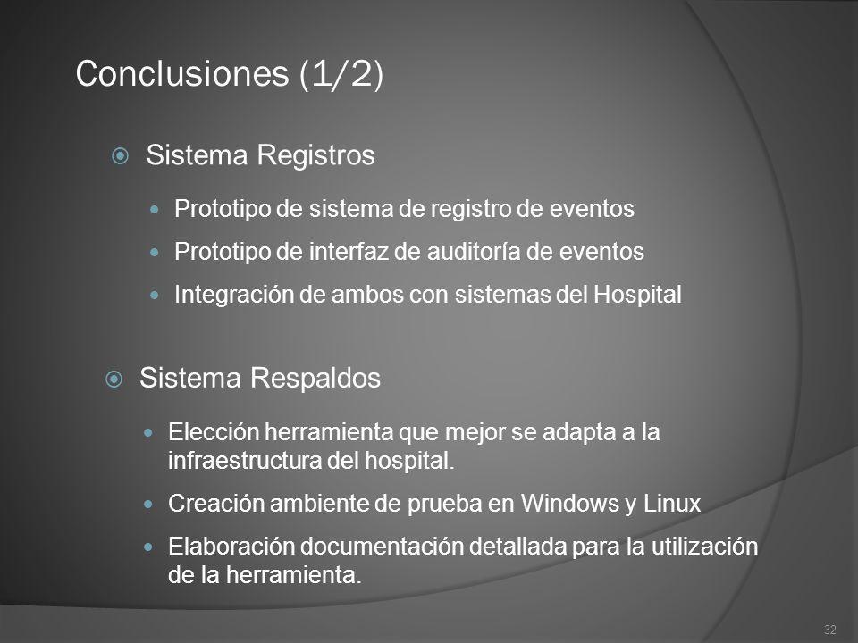 32 Conclusiones (1/2) Sistema Registros Prototipo de sistema de registro de eventos Prototipo de interfaz de auditoría de eventos Integración de ambos