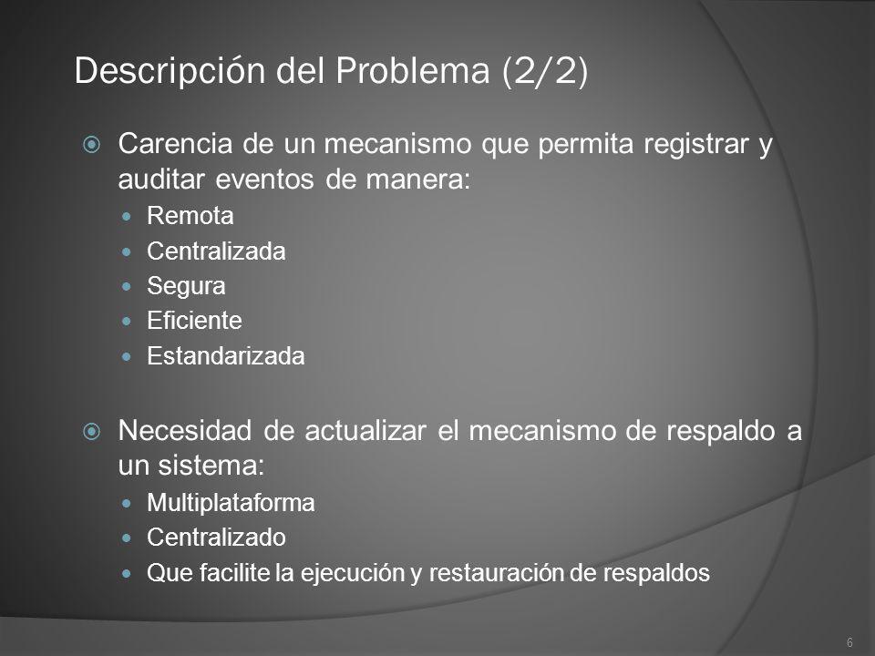 6 Carencia de un mecanismo que permita registrar y auditar eventos de manera: Remota Centralizada Segura Eficiente Estandarizada Necesidad de actualiz