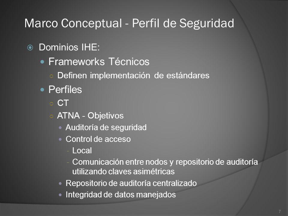 7 Marco Conceptual - Perfil de Seguridad Dominios IHE: Frameworks Técnicos Definen implementación de estándares Perfiles CT ATNA - Objetivos Auditoría