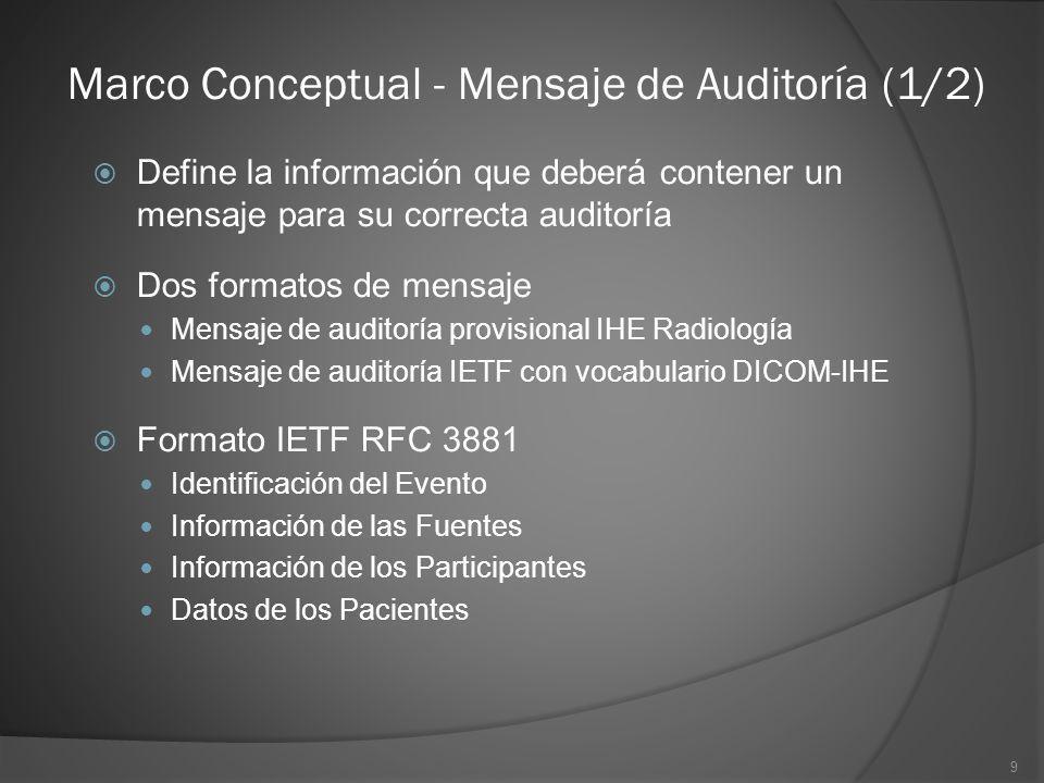 9 Marco Conceptual - Mensaje de Auditoría (1/2) Define la información que deberá contener un mensaje para su correcta auditoría Dos formatos de mensaj