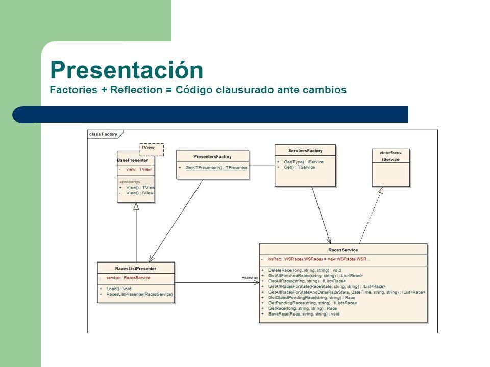 Presentación Factories + Reflection = Código clausurado ante cambios