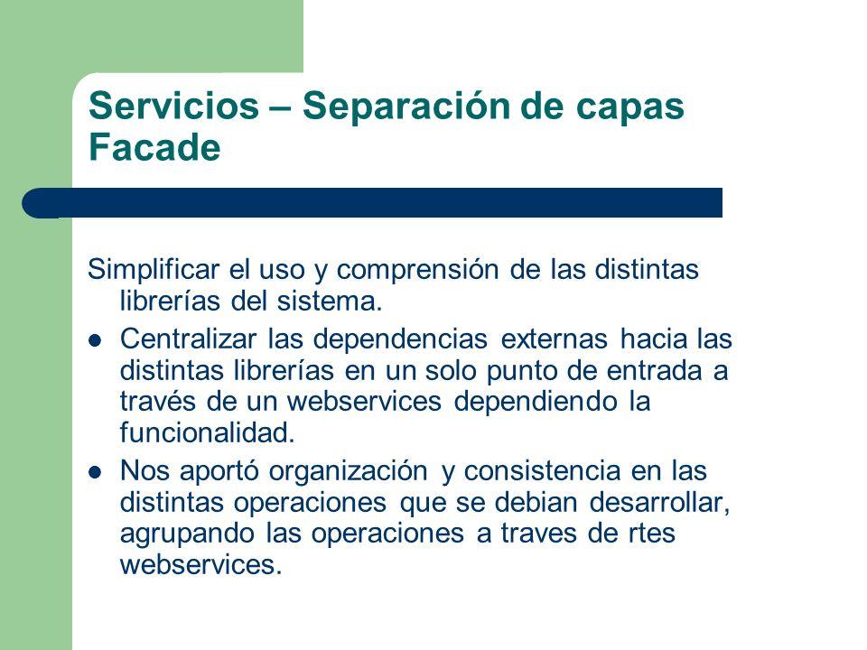 Servicios – Separación de capas Facade Simplificar el uso y comprensión de las distintas librerías del sistema. Centralizar las dependencias externas