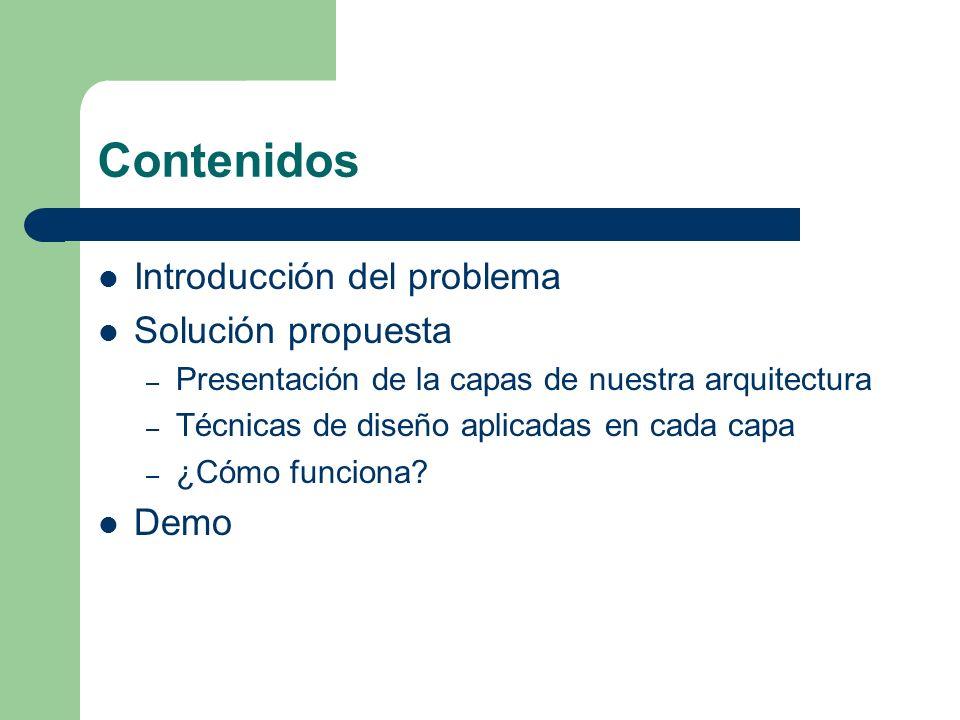 Contenidos Introducción del problema Solución propuesta – Presentación de la capas de nuestra arquitectura – Técnicas de diseño aplicadas en cada capa