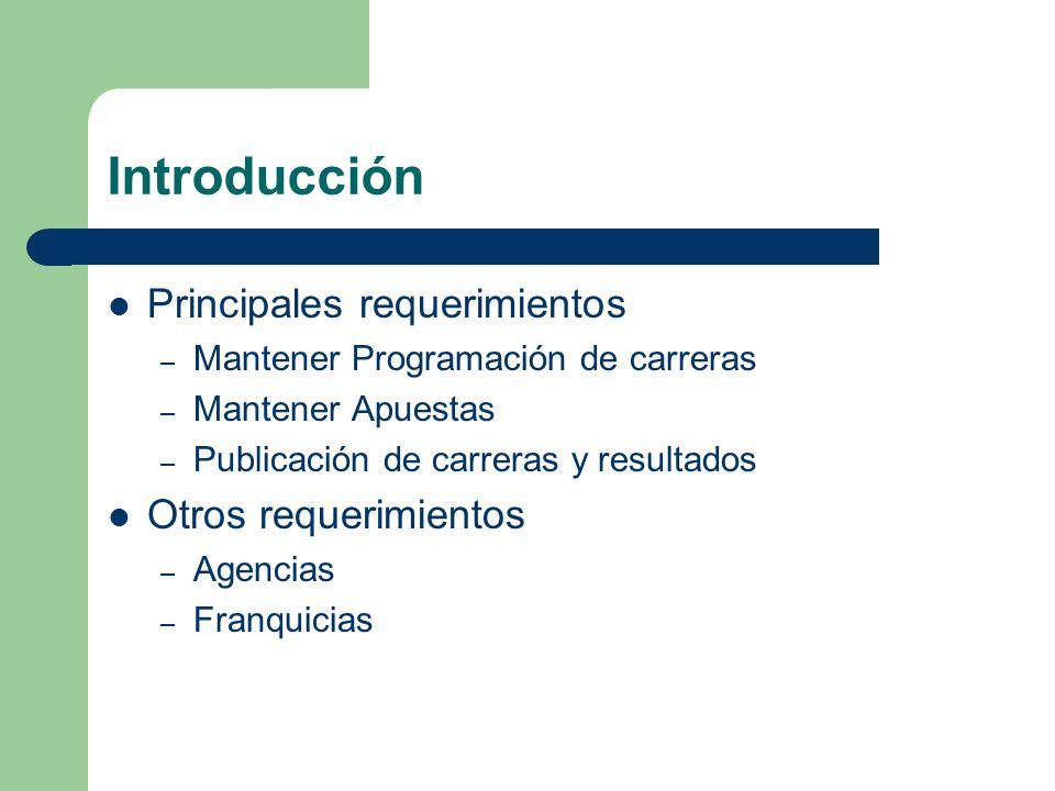 Introducción Principales requerimientos – Mantener Programación de carreras – Mantener Apuestas – Publicación de carreras y resultados Otros requerimi