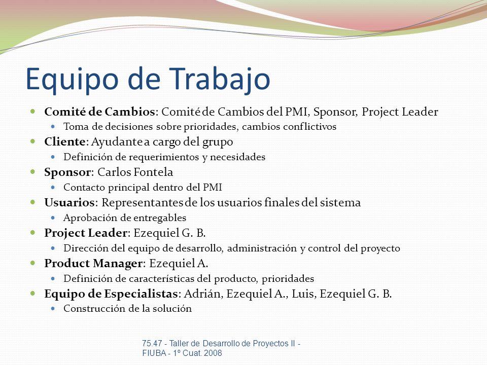 Equipo de Trabajo Comité de Cambios: Comité de Cambios del PMI, Sponsor, Project Leader Toma de decisiones sobre prioridades, cambios conflictivos Cli