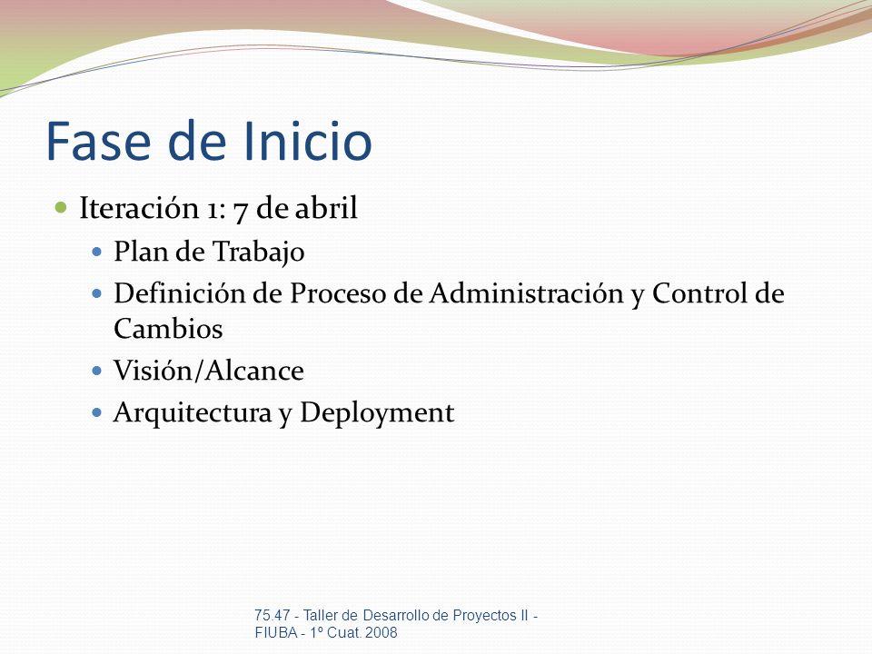 Fase de Inicio Iteración 1: 7 de abril Plan de Trabajo Definición de Proceso de Administración y Control de Cambios Visión/Alcance Arquitectura y Depl