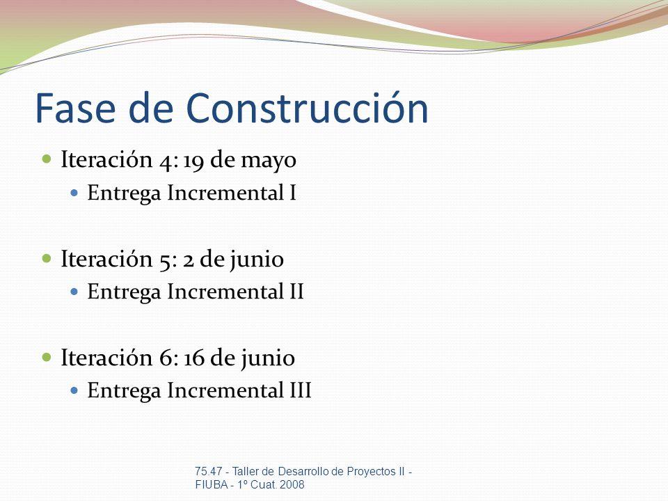 Fase de Construcción Iteración 4: 19 de mayo Entrega Incremental I Iteración 5: 2 de junio Entrega Incremental II Iteración 6: 16 de junio Entrega Inc
