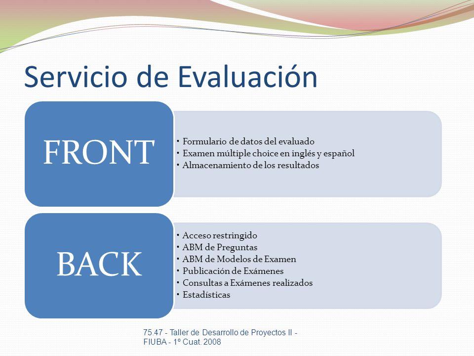 Servicio de Evaluación Formulario de datos del evaluado Examen múltiple choice en inglés y español Almacenamiento de los resultados FRONT Acceso restr