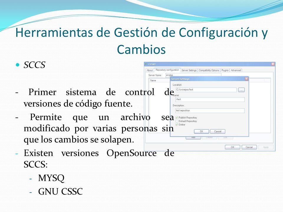 SCCS - Primer sistema de control de versiones de código fuente. - Permite que un archivo sea modificado por varias personas sin que los cambios se sol