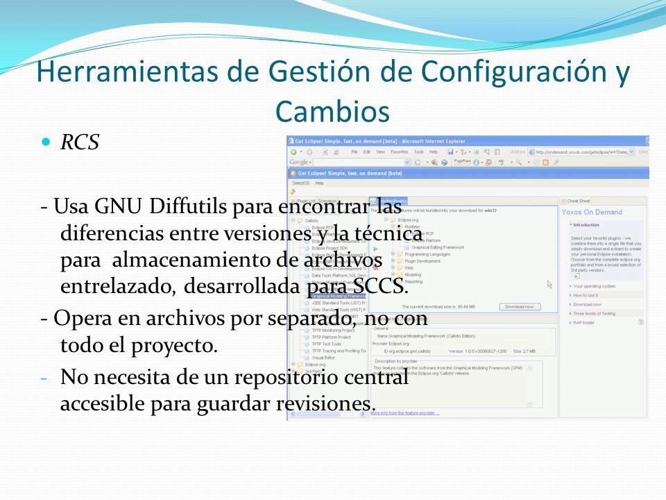 RCS - Usa GNU Diffutils para encontrar las diferencias entre versiones y la técnica para almacenamiento de archivos entrelazado, desarrollada para SCC