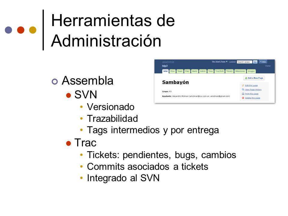 Herramientas de Administración Assembla SVN Versionado Trazabilidad Tags intermedios y por entrega Trac Tickets: pendientes, bugs, cambios Commits aso