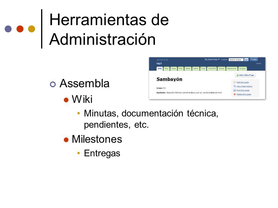 Herramientas de Administración Assembla Wiki Minutas, documentación técnica, pendientes, etc. Milestones Entregas
