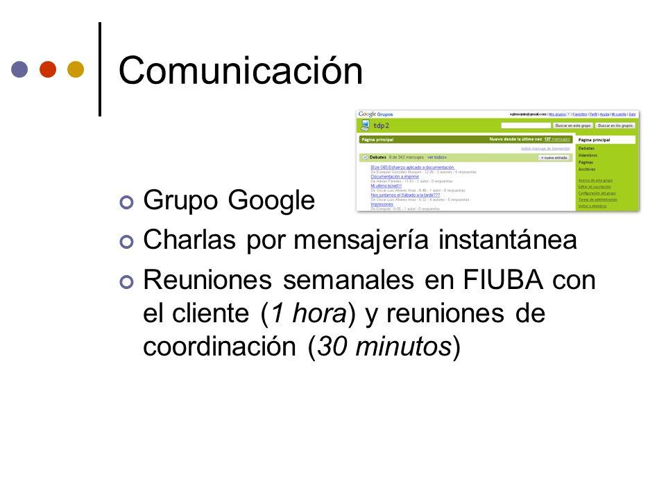 Comunicación Grupo Google Charlas por mensajería instantánea Reuniones semanales en FIUBA con el cliente (1 hora) y reuniones de coordinación (30 minu