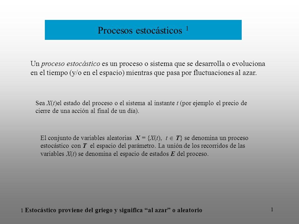 2 Procesos estocásticos El precio de una acción al cierre del día en función del día.