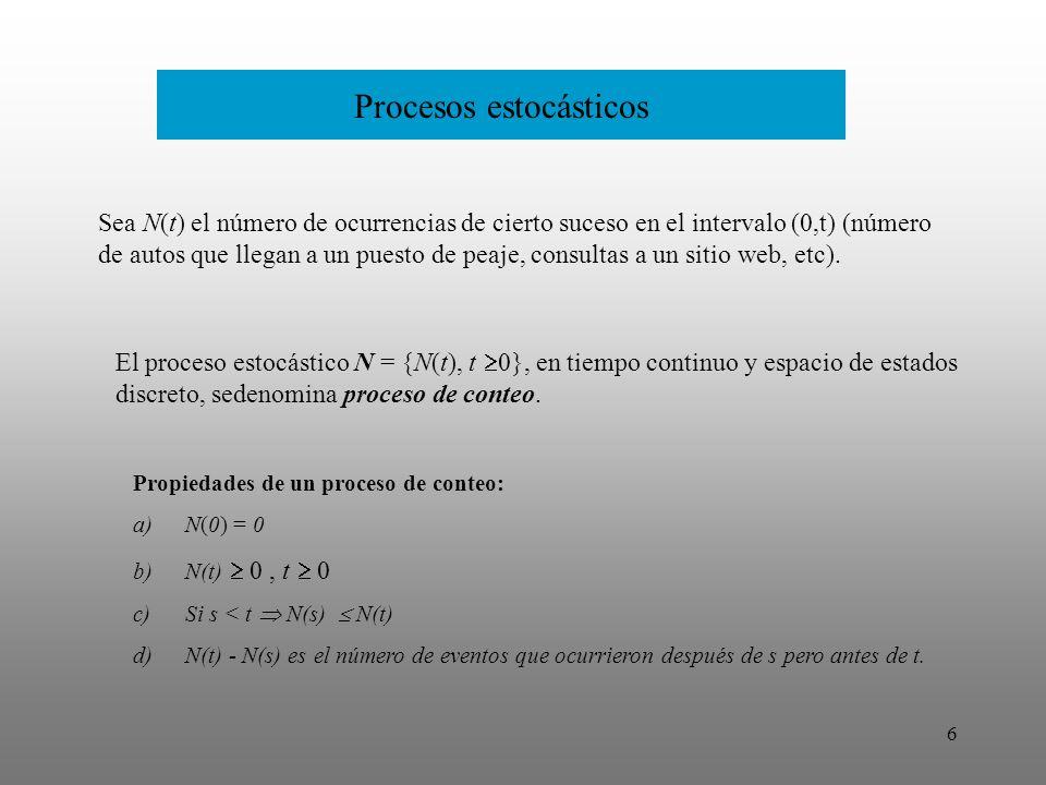 7 Procesos estocásticos Un proceso estocástico de conteo donde el tiempo entre ocurrencias es una variable aleatoria con distribución exponencial.