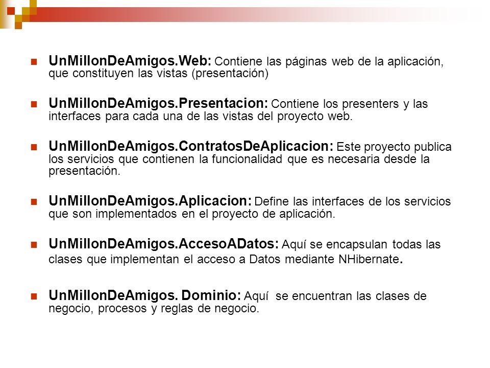 UnMillonDeAmigos.Web: Contiene las páginas web de la aplicación, que constituyen las vistas (presentación) UnMillonDeAmigos.Presentacion: Contiene los