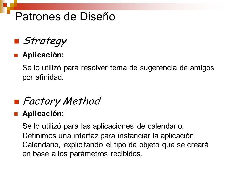 Patrones de Diseño Strategy Aplicación: Se lo utilizó para resolver tema de sugerencia de amigos por afinidad. Factory Method Aplicación: Se lo utiliz