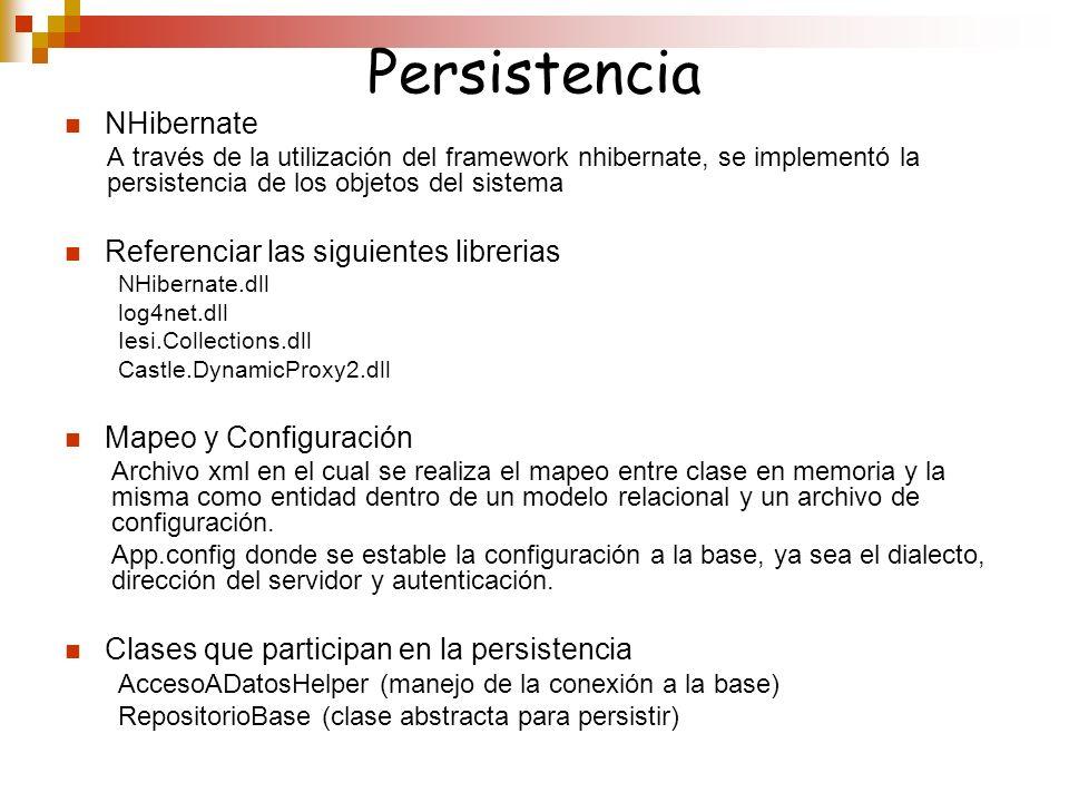 Persistencia NHibernate A través de la utilización del framework nhibernate, se implementó la persistencia de los objetos del sistema Referenciar las