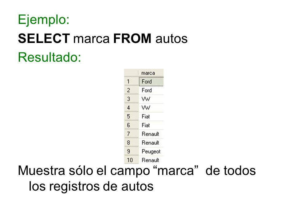 Ejemplo: SELECT marca FROM autos Resultado: Muestra sólo el campo marca de todos los registros de autos