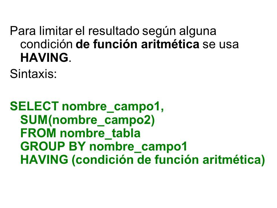 Para limitar el resultado según alguna condición de función aritmética se usa HAVING. Sintaxis: SELECT nombre_campo1, SUM(nombre_campo2) FROM nombre_t