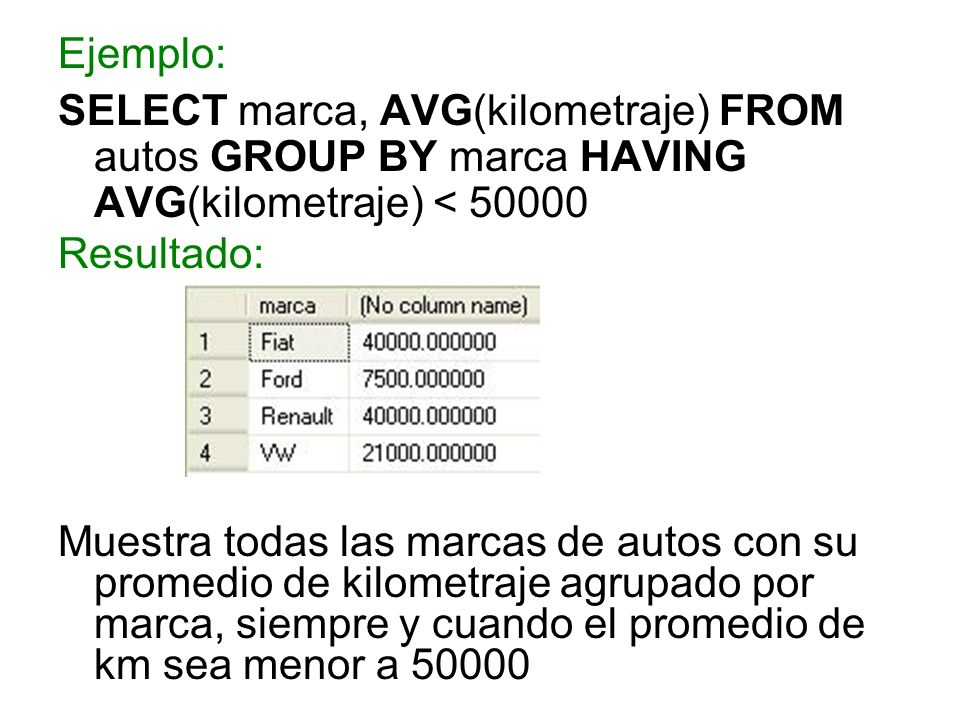 Ejemplo: SELECT marca, AVG(kilometraje) FROM autos GROUP BY marca HAVING AVG(kilometraje) < 50000 Resultado: Muestra todas las marcas de autos con su