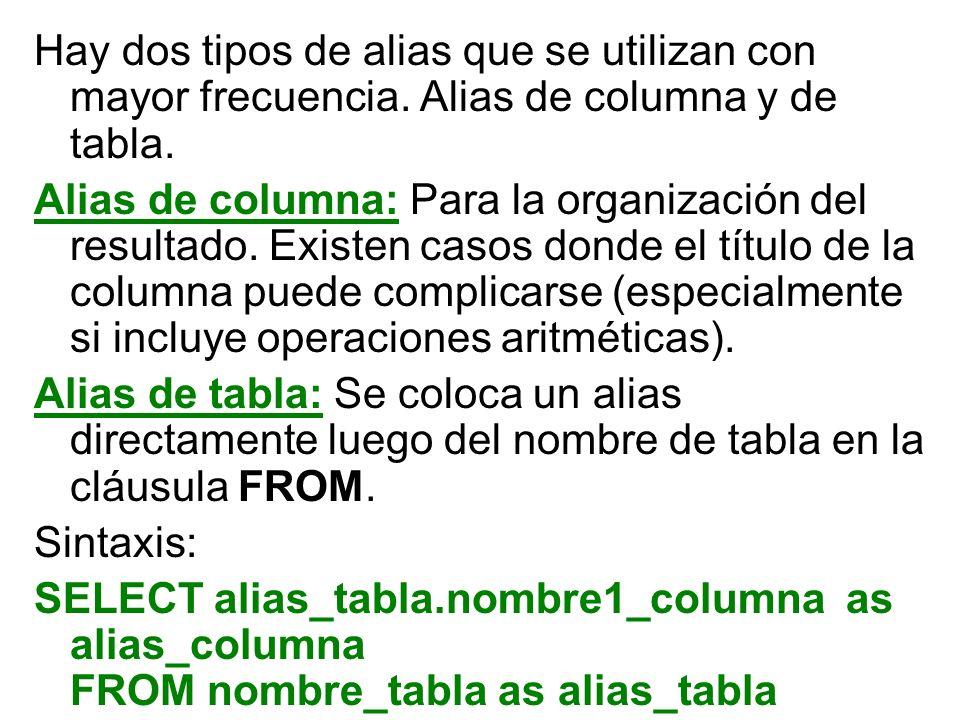 Hay dos tipos de alias que se utilizan con mayor frecuencia. Alias de columna y de tabla. Alias de columna: Para la organización del resultado. Existe