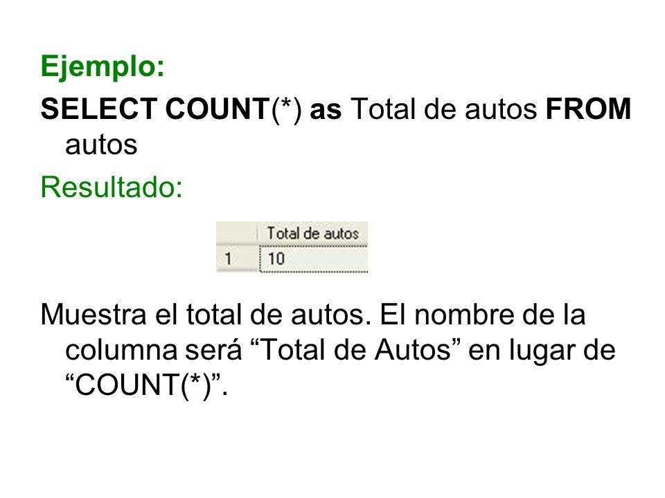 Ejemplo: SELECT COUNT(*) as Total de autos FROM autos Resultado: Muestra el total de autos. El nombre de la columna será Total de Autos en lugar de CO