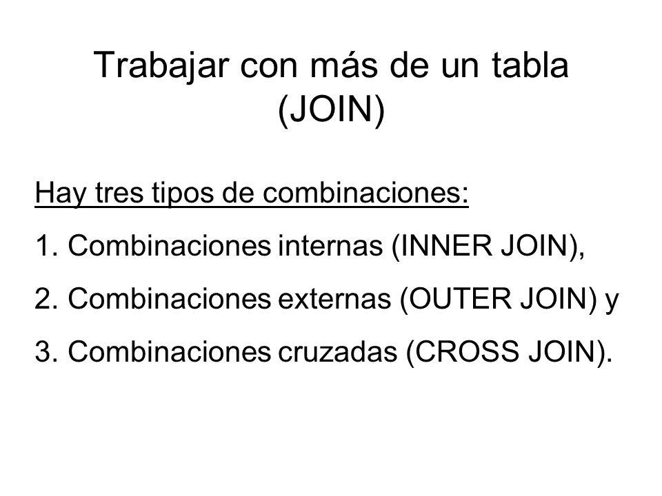 Trabajar con más de un tabla (JOIN) Hay tres tipos de combinaciones: 1.Combinaciones internas (INNER JOIN), 2.Combinaciones externas (OUTER JOIN) y 3.