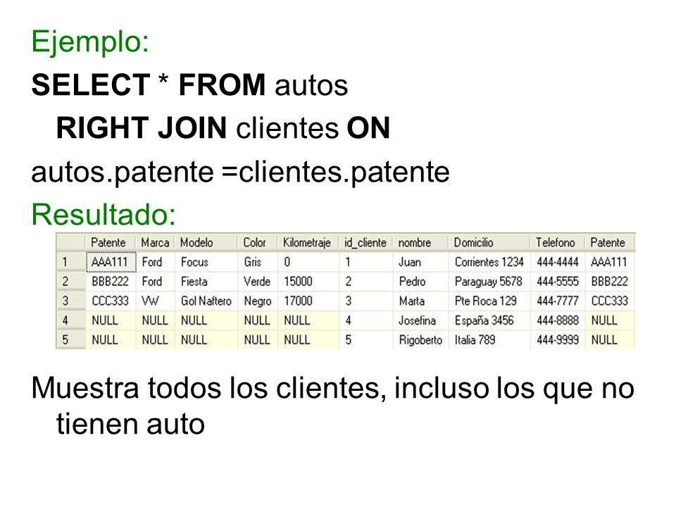 Ejemplo: SELECT * FROM autos RIGHT JOIN clientes ON autos.patente =clientes.patente Resultado: Muestra todos los clientes, incluso los que no tienen a