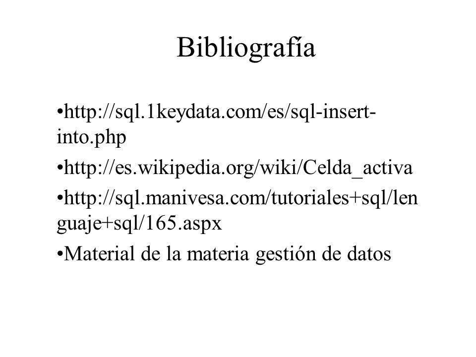 Bibliografía http://sql.1keydata.com/es/sql-insert- into.php http://es.wikipedia.org/wiki/Celda_activa http://sql.manivesa.com/tutoriales+sql/len guaj