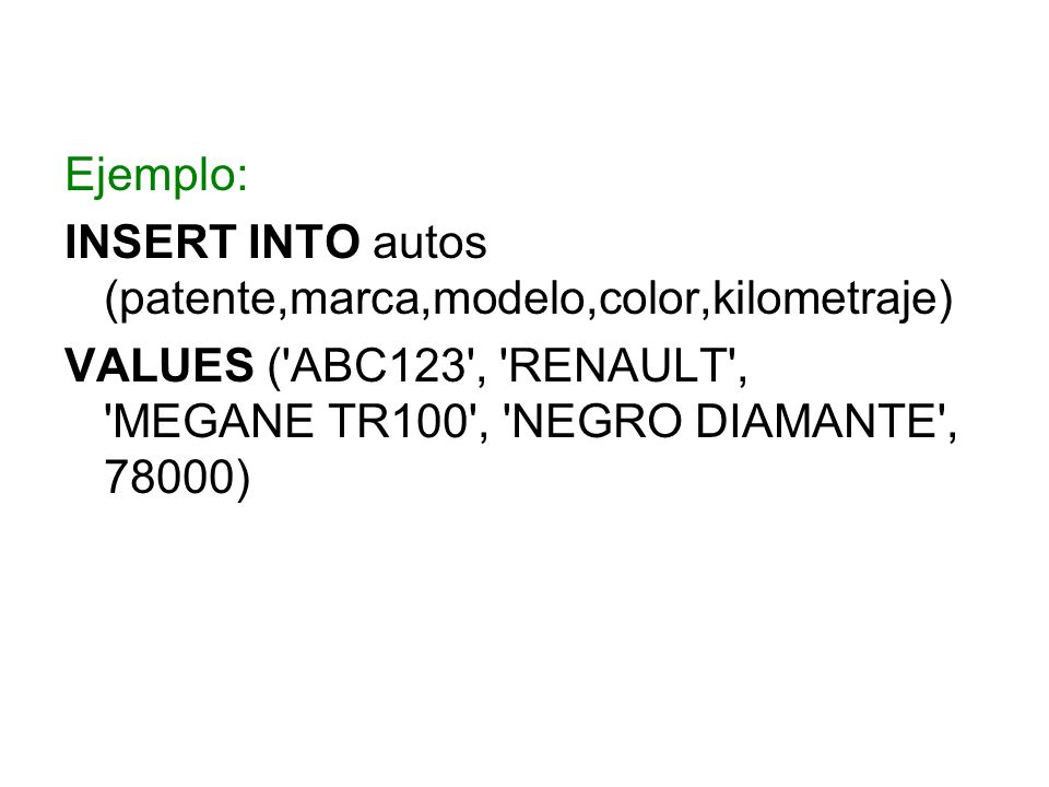 Ejemplo: INSERT INTO autos (patente,marca,modelo,color,kilometraje) VALUES ('ABC123', 'RENAULT', 'MEGANE TR100', 'NEGRO DIAMANTE', 78000)