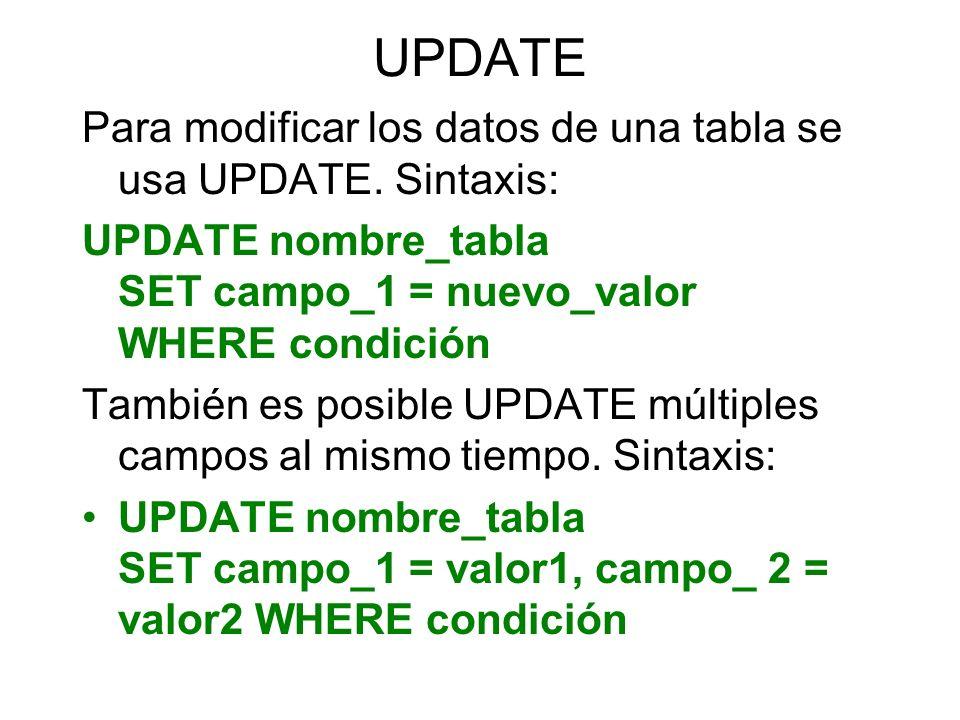 INNER JOIN (Combinaciones internas) Sintaxis: SELECT campos FROM tabla1 JOIN tabla2 ON tabla1.campo1=tabla2.campo2