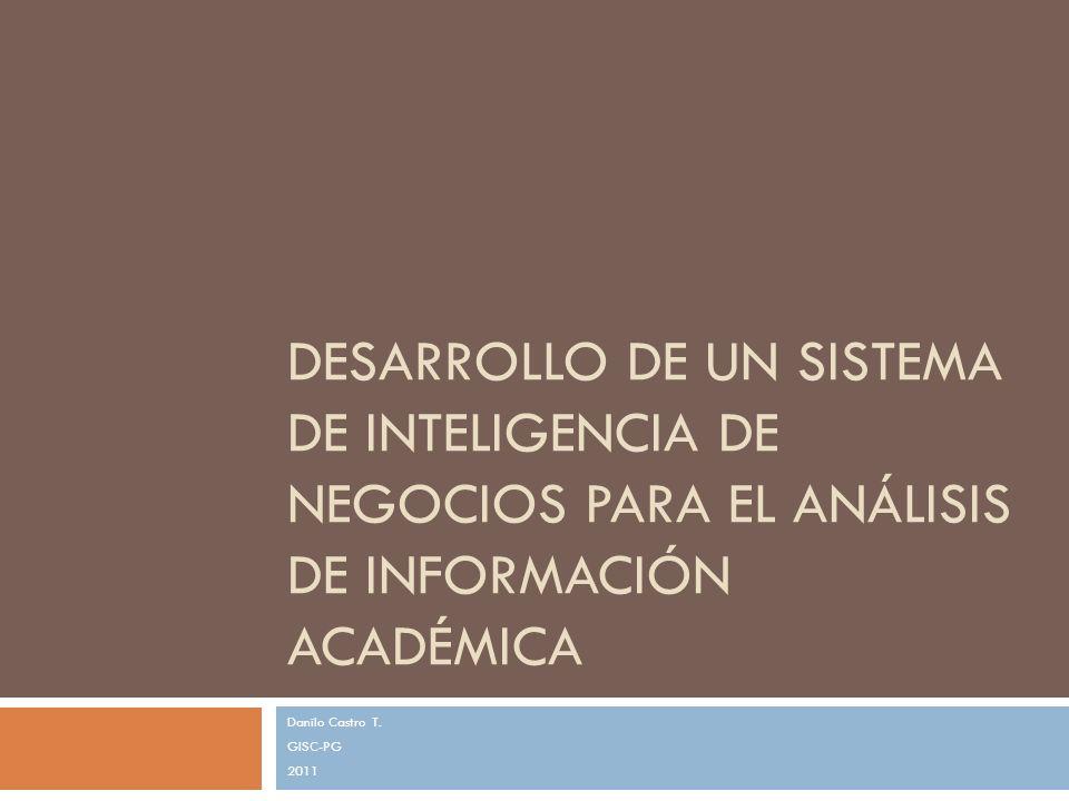 DESARROLLO DE UN SISTEMA DE INTELIGENCIA DE NEGOCIOS PARA EL ANÁLISIS DE INFORMACIÓN ACADÉMICA Danilo Castro T. GISC-PG 2011